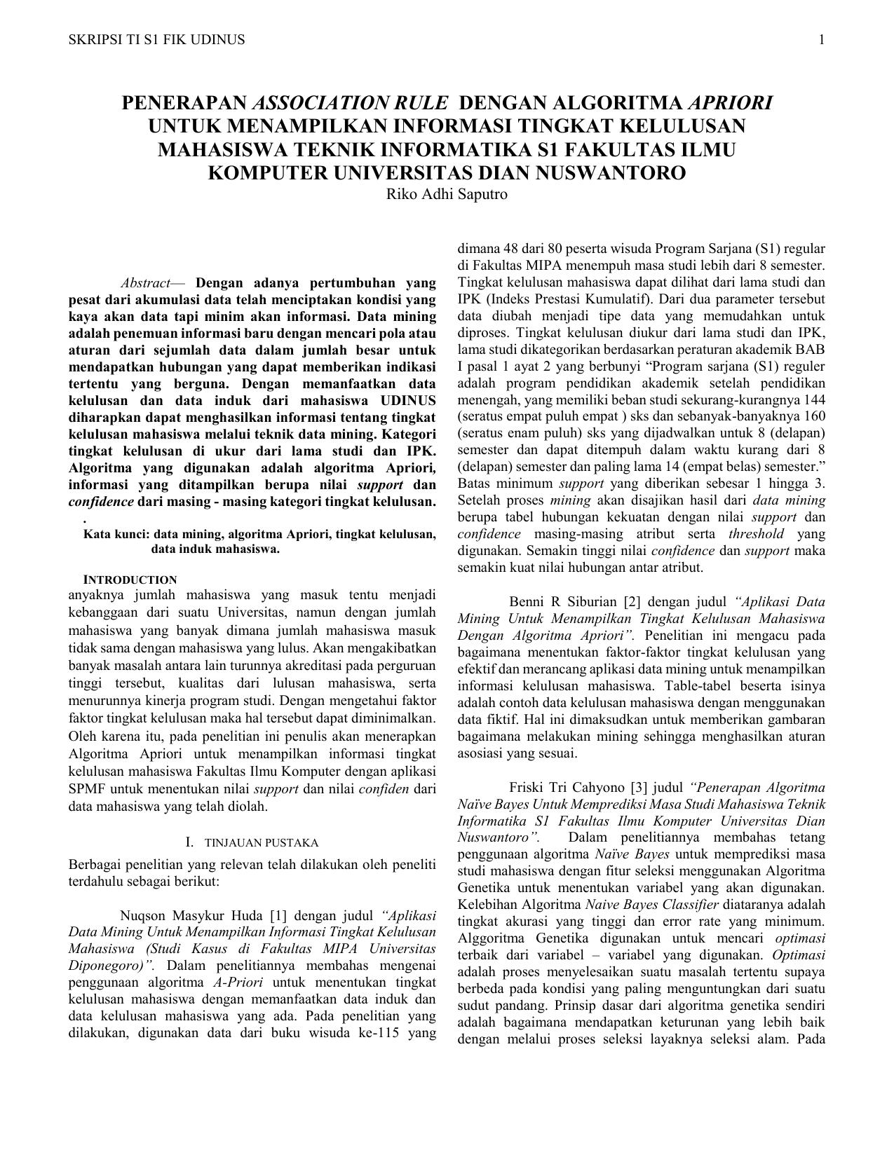 Penerapan Association Rule Dengan Algoritma Apriori Untuk