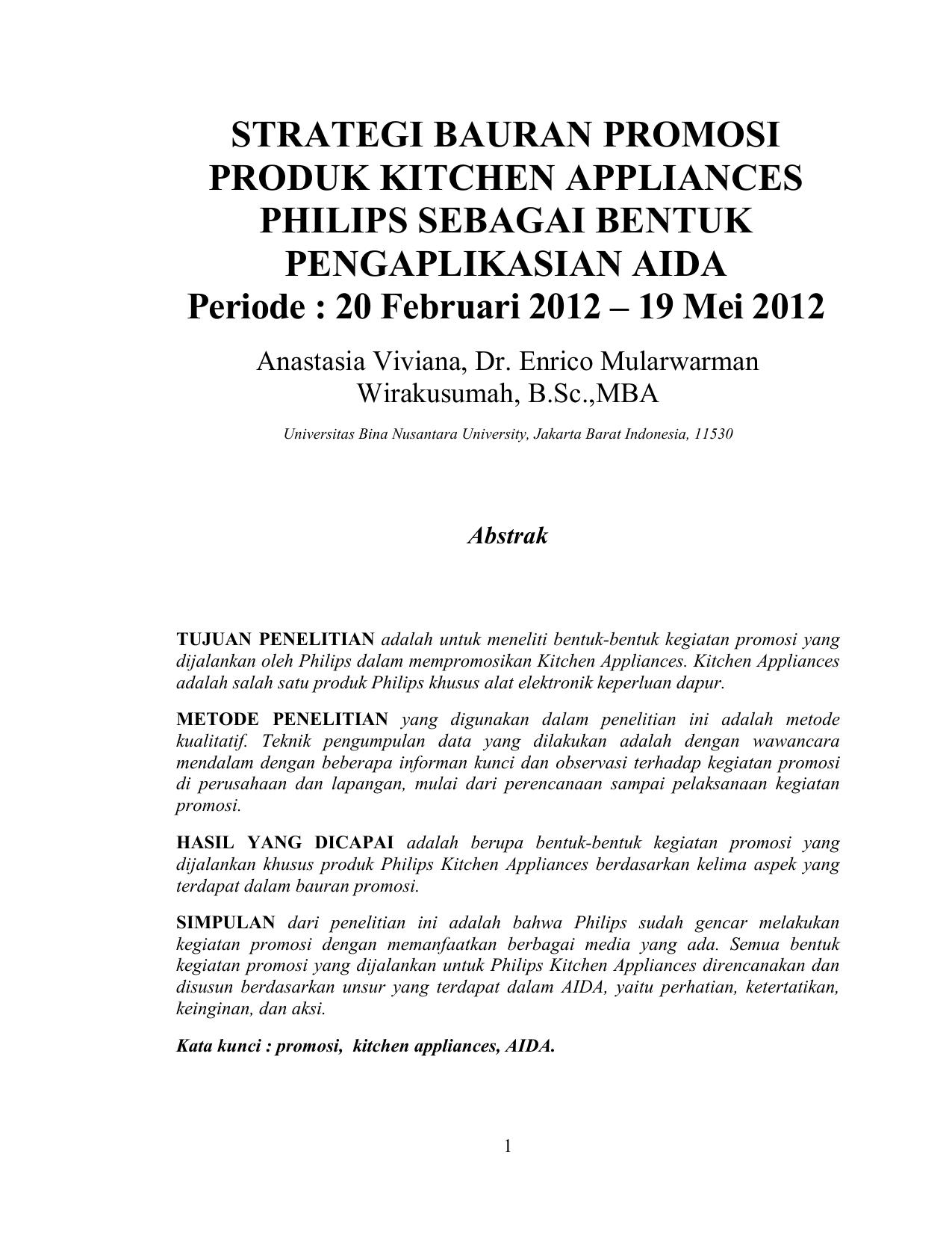 Strategi Bauran Promosi Produk Kitchen Appliances