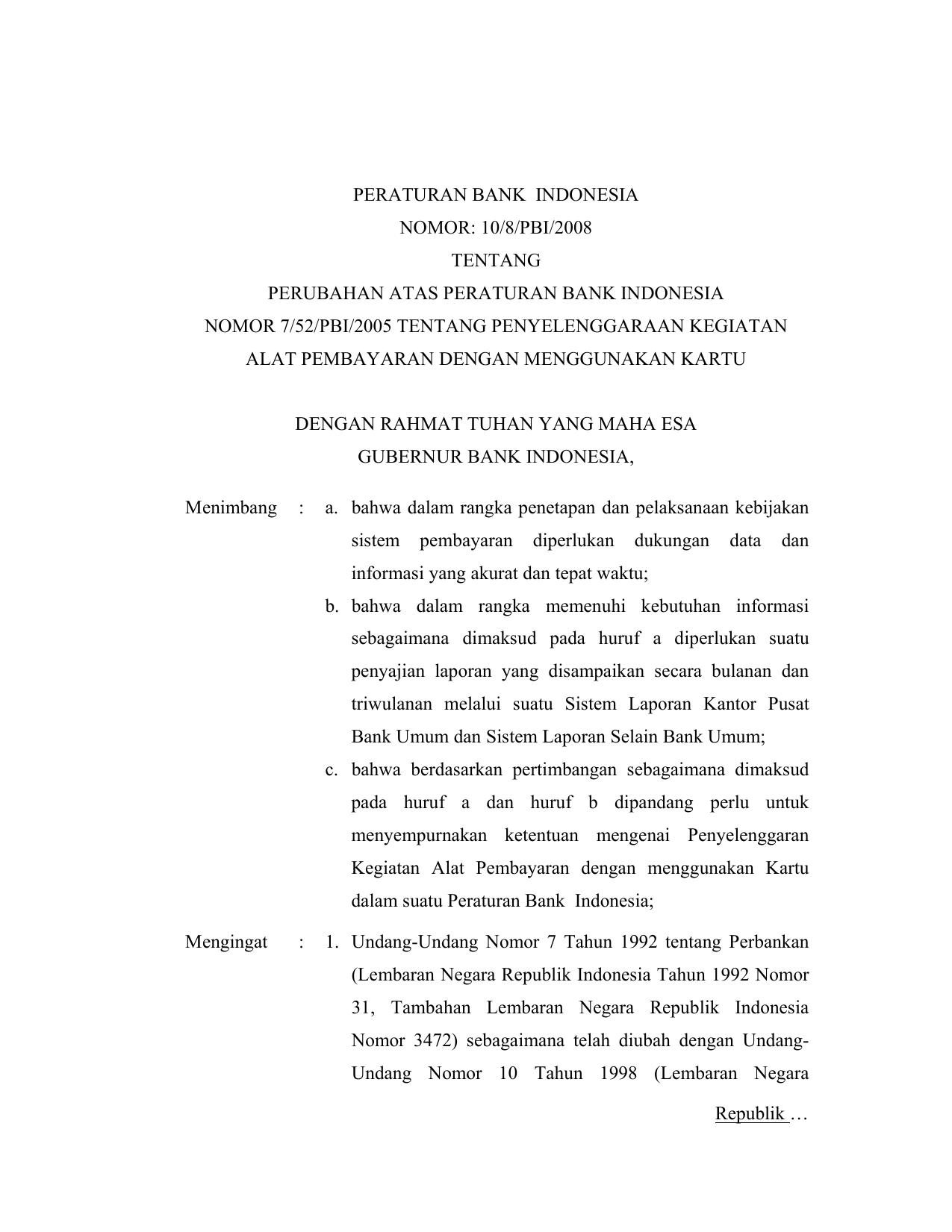 Peraturan Bank Indonesia Nomor 10 8 Pbi 2008