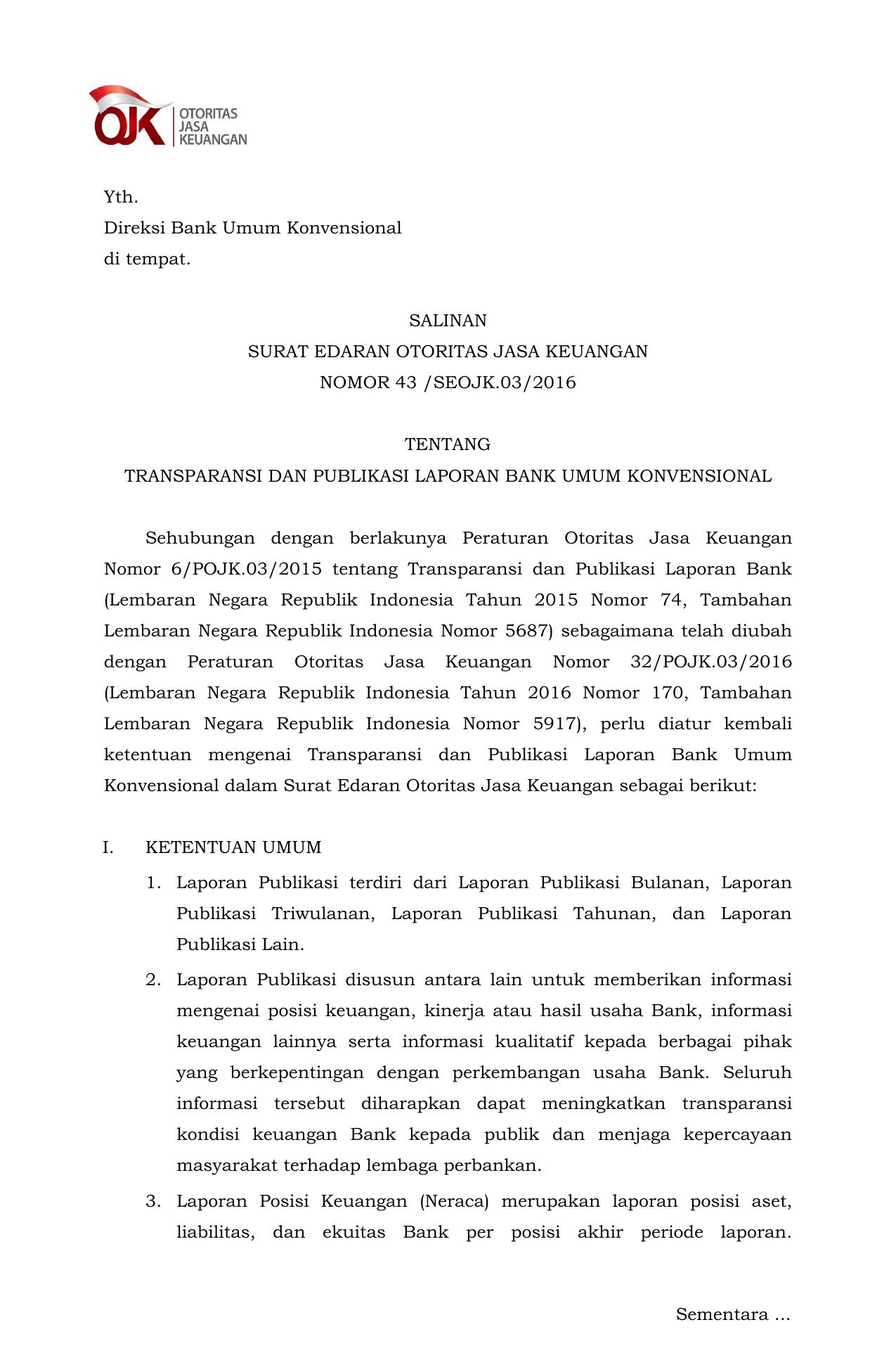 Pedoman Penyusunan Laporan Publikasi Bank Sikepo