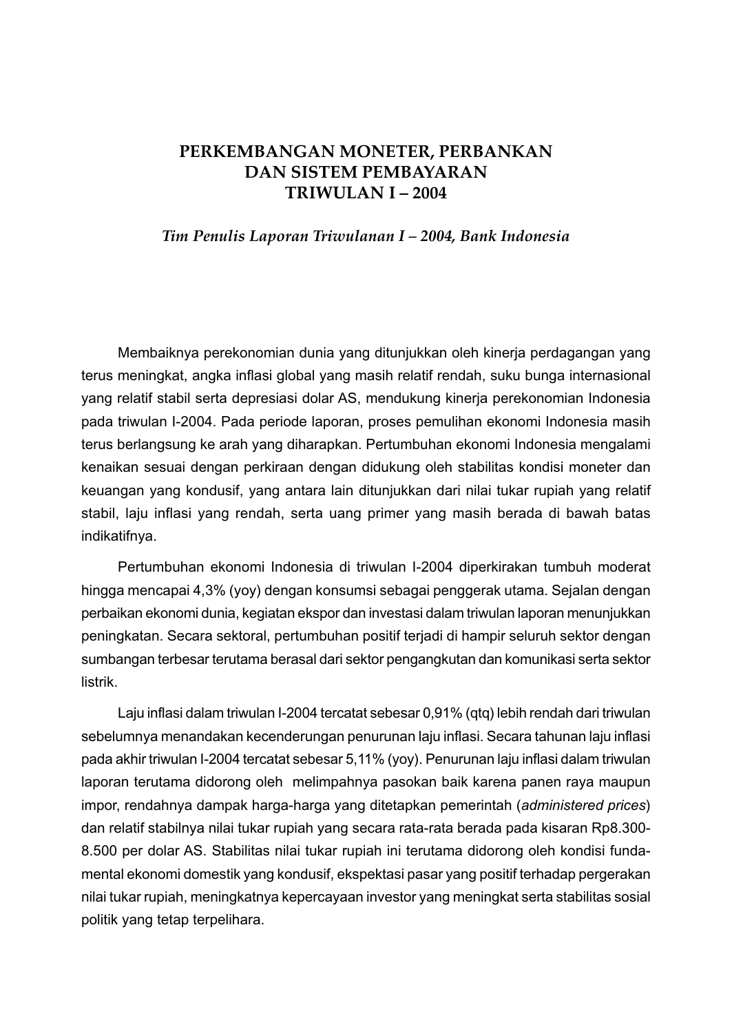 Laporan Perekonomian Indonesia Tahun 2004 Nawasis National Water And Sanitation Information Services