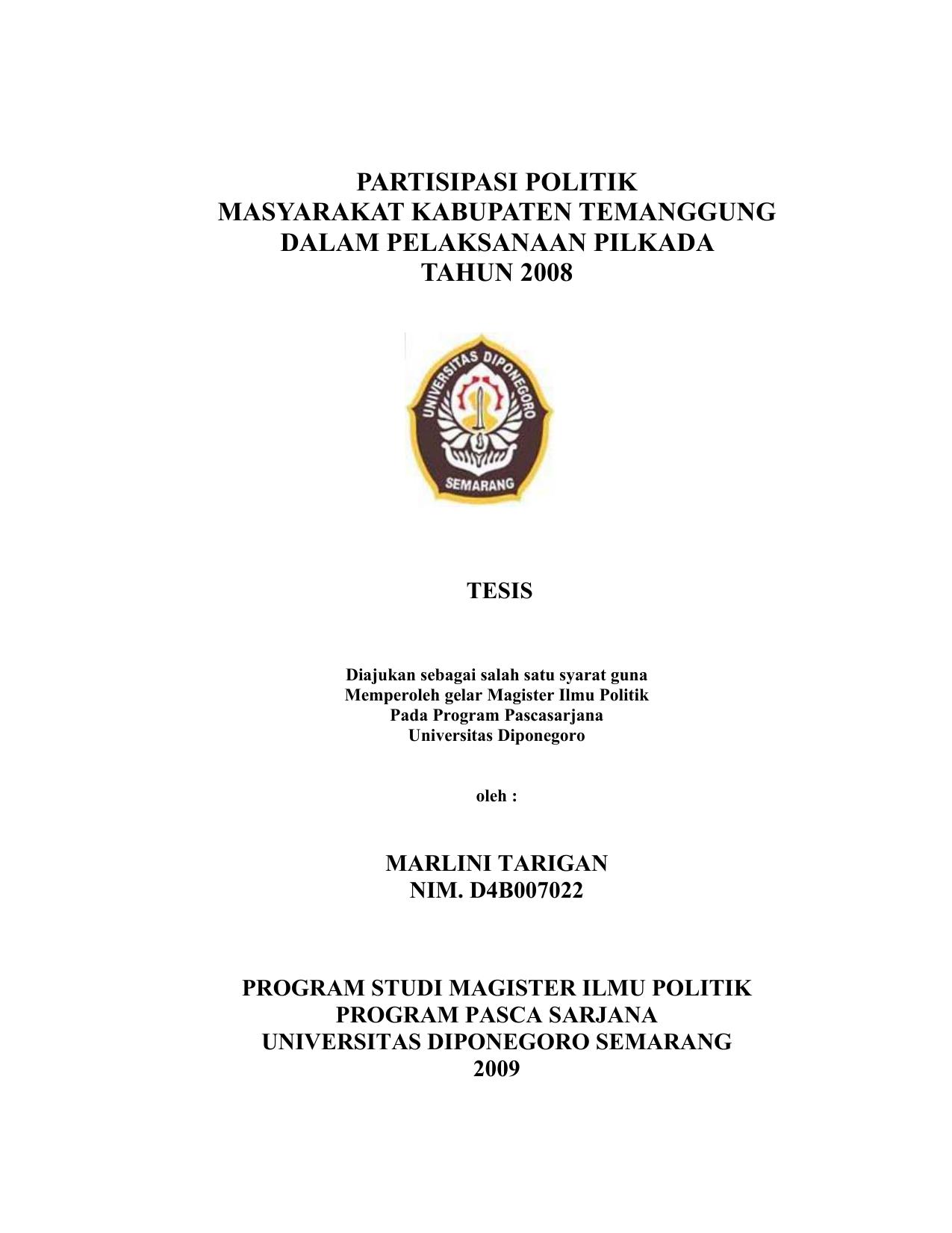 Partisipasi Politik Masyarakat Kabupaten