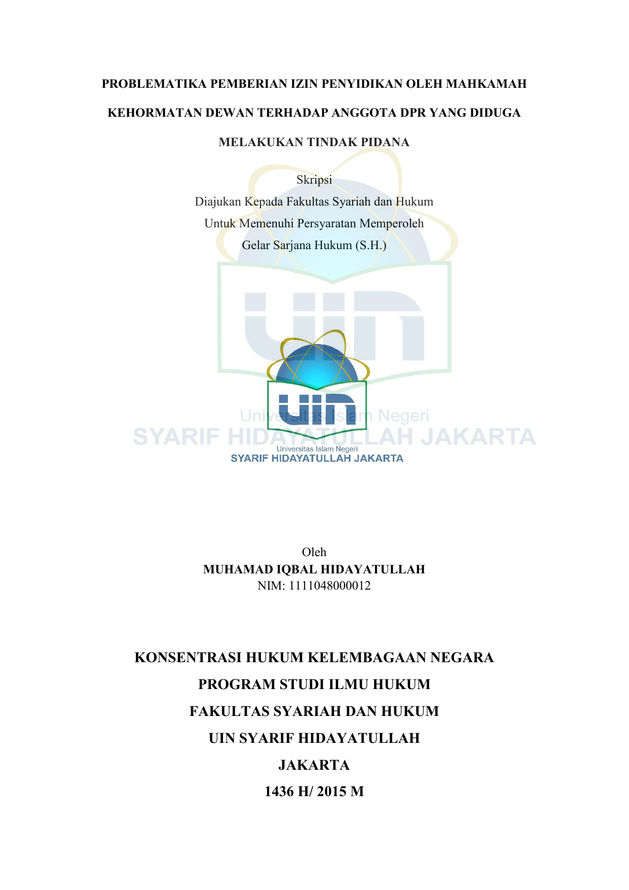 Konsentrasi Hukum Kelembagaan Negara Program Studi Ilmu Hukum