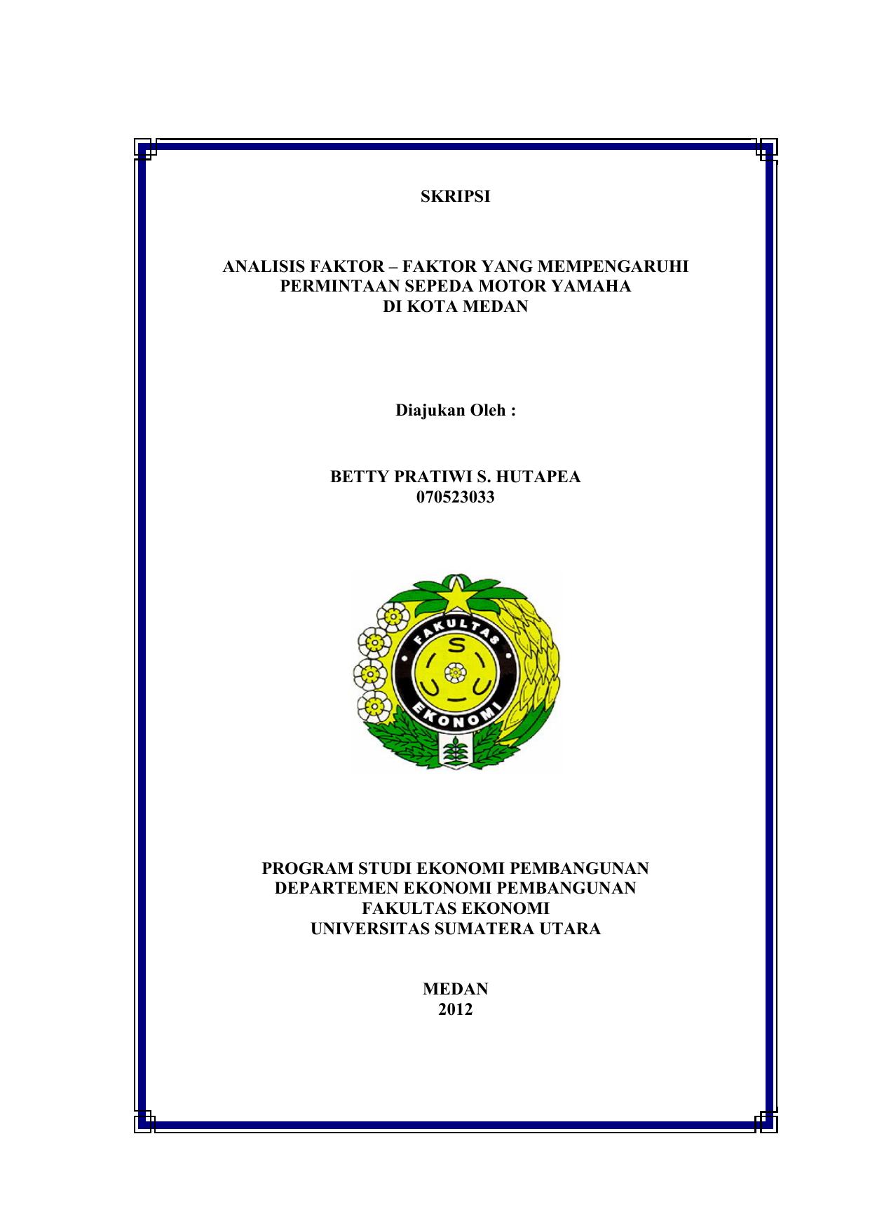 Skripsi Analisis Faktor Universitas Sumatera Utara