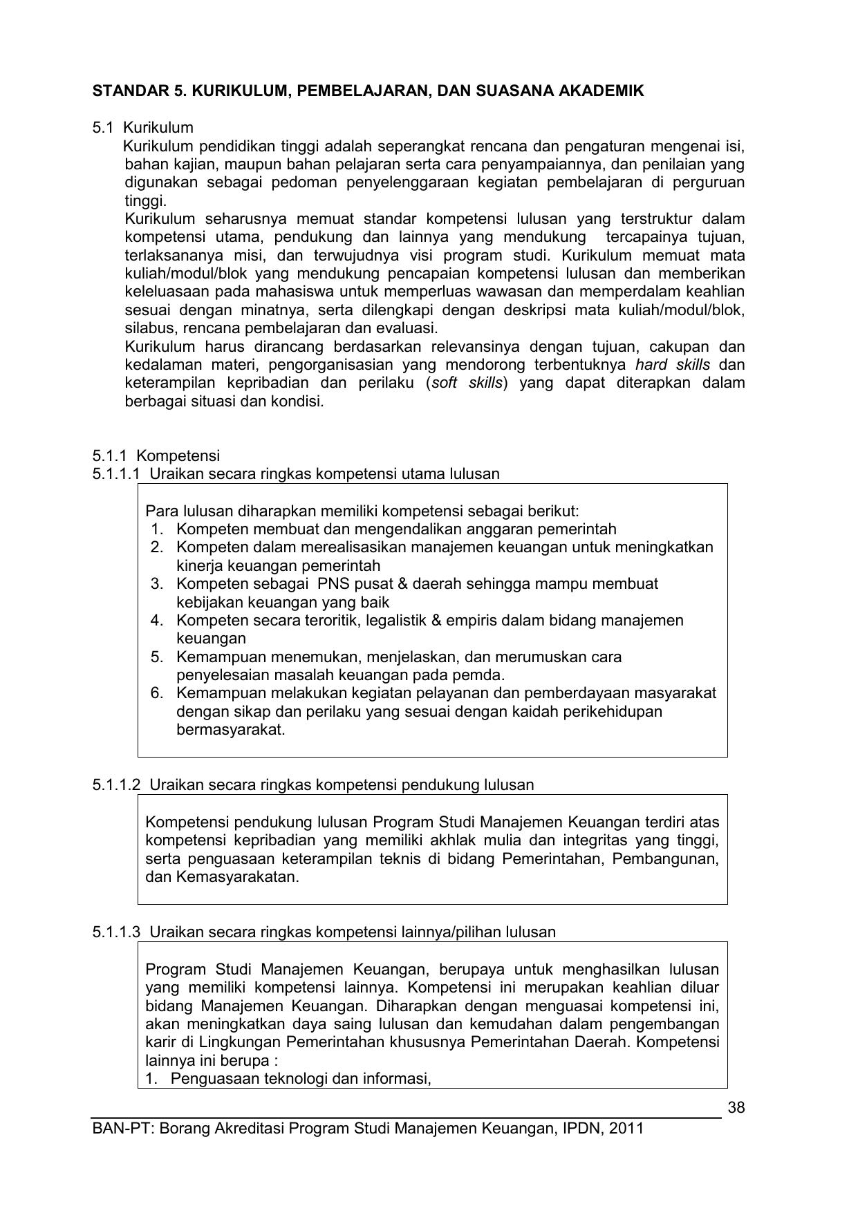 38 Ban Pt Borang Akreditasi Program Studi Manajemen