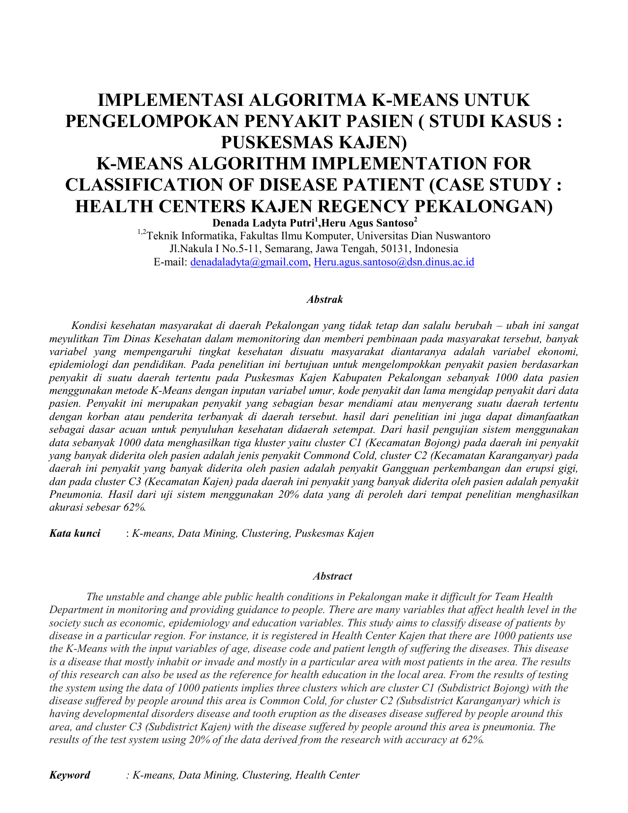 Implementasi Algoritma K Means Untuk Pengelompokan Penyakit