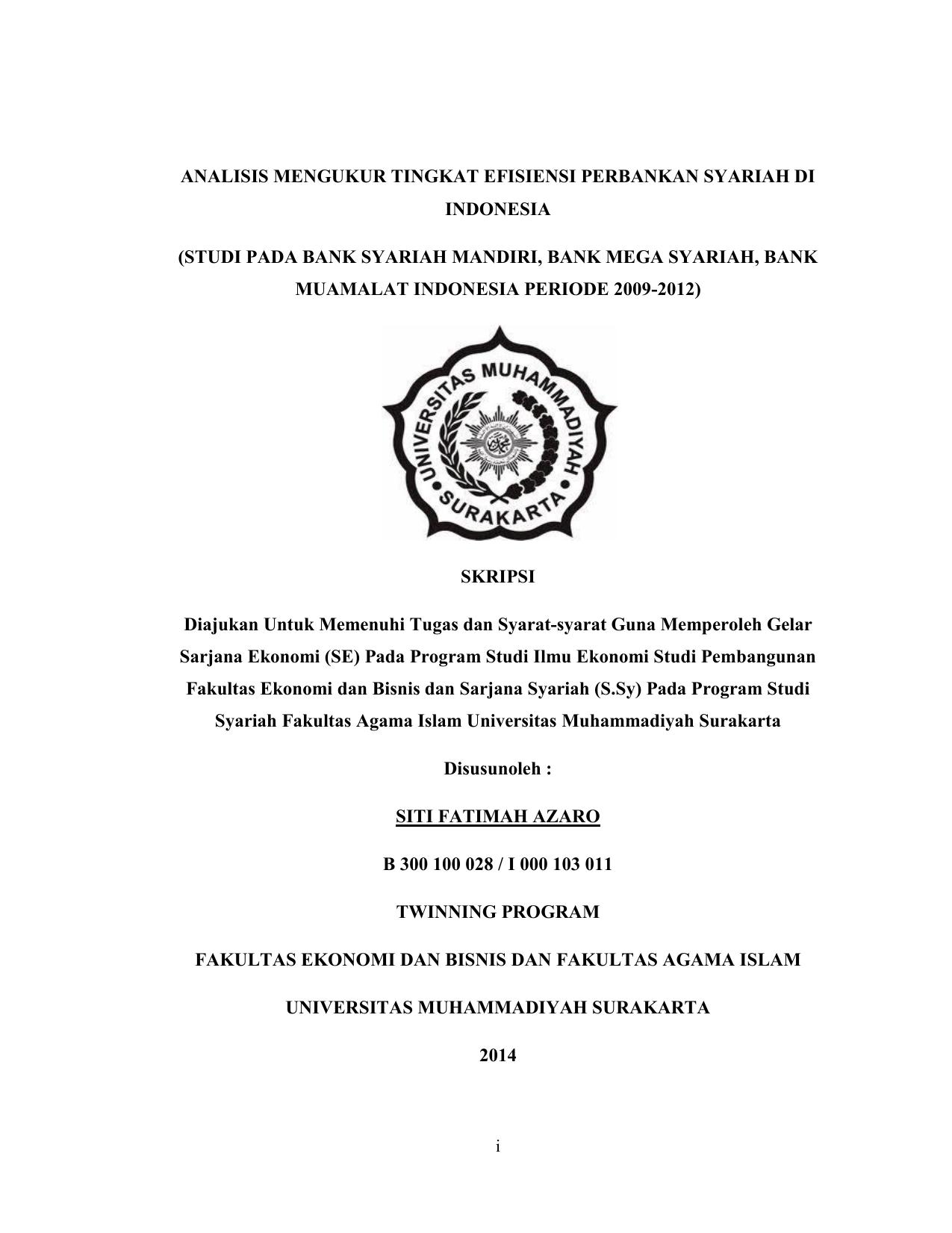 Analisis Mengukur Tingkat Efisiensi Perbankan Syariah Di Indonesia