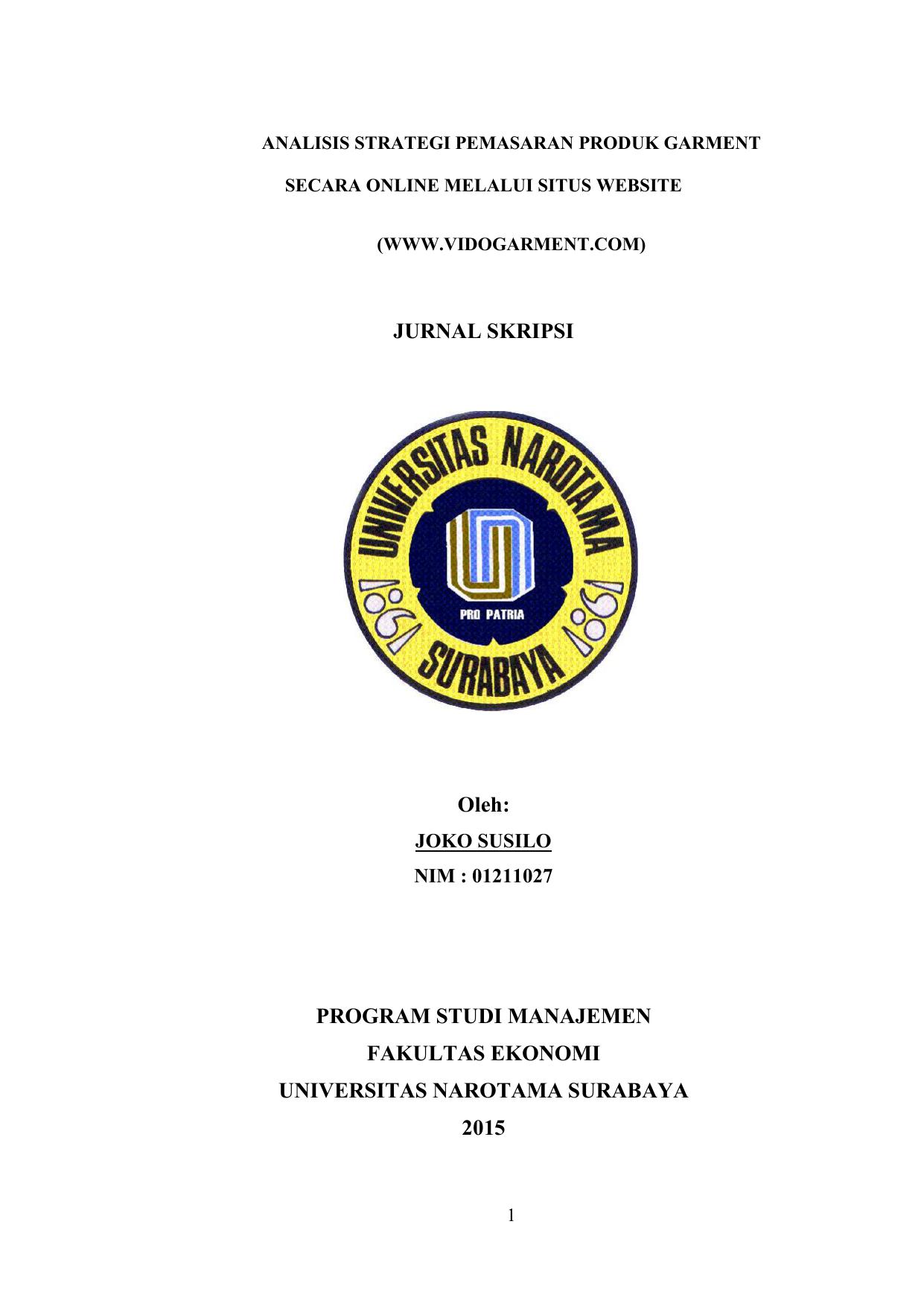 Jurnal Skripsi Oleh Program Studi Manajemen