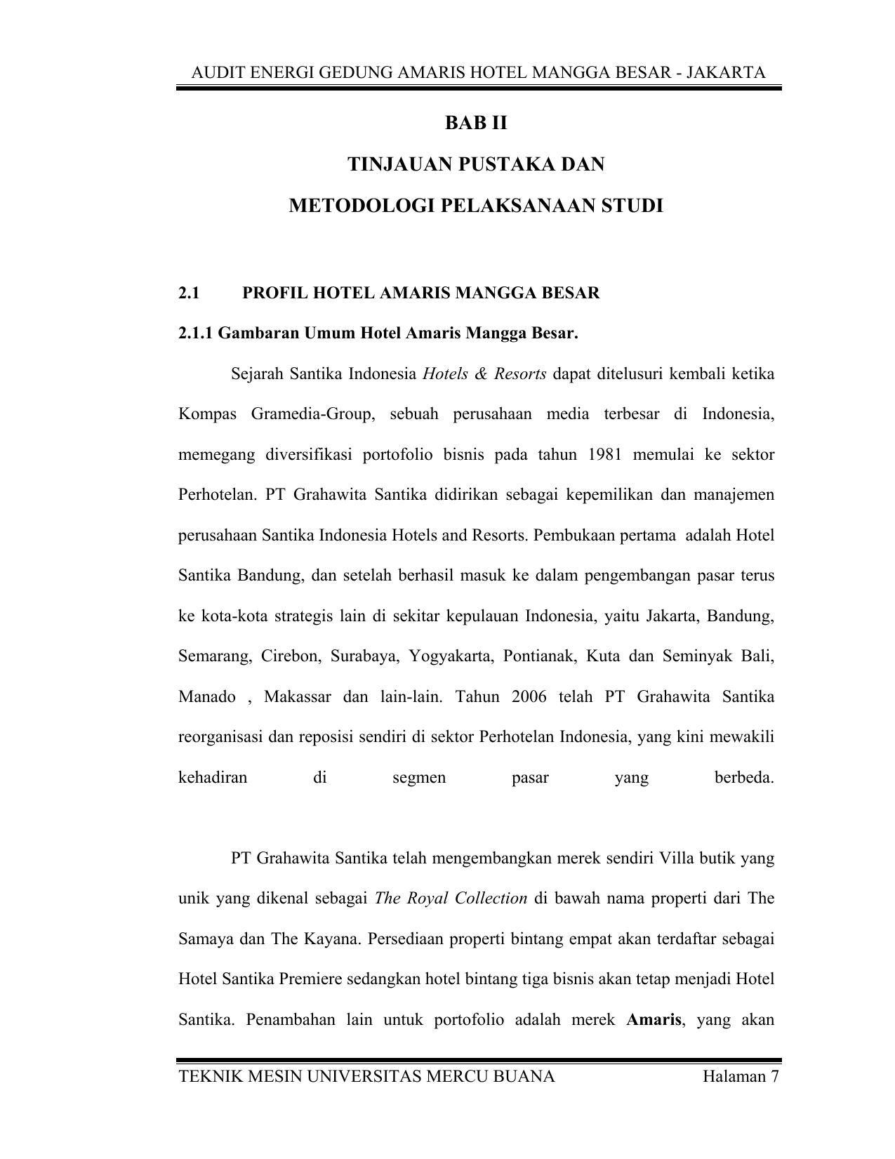 Audit Energi Gedung Amaris Hotel Mangga Besar