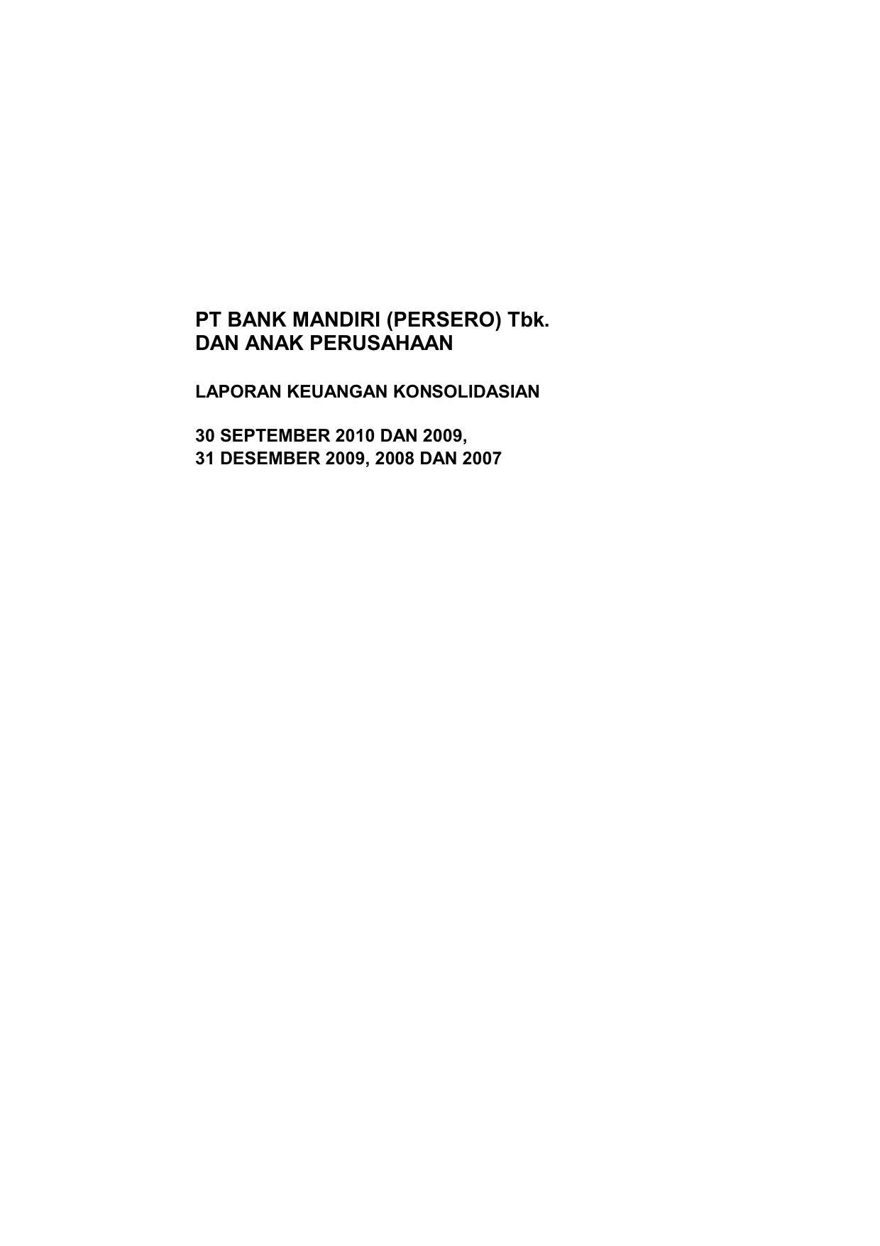 Pt Bank Mandiri Persero Tbk Dan Anak