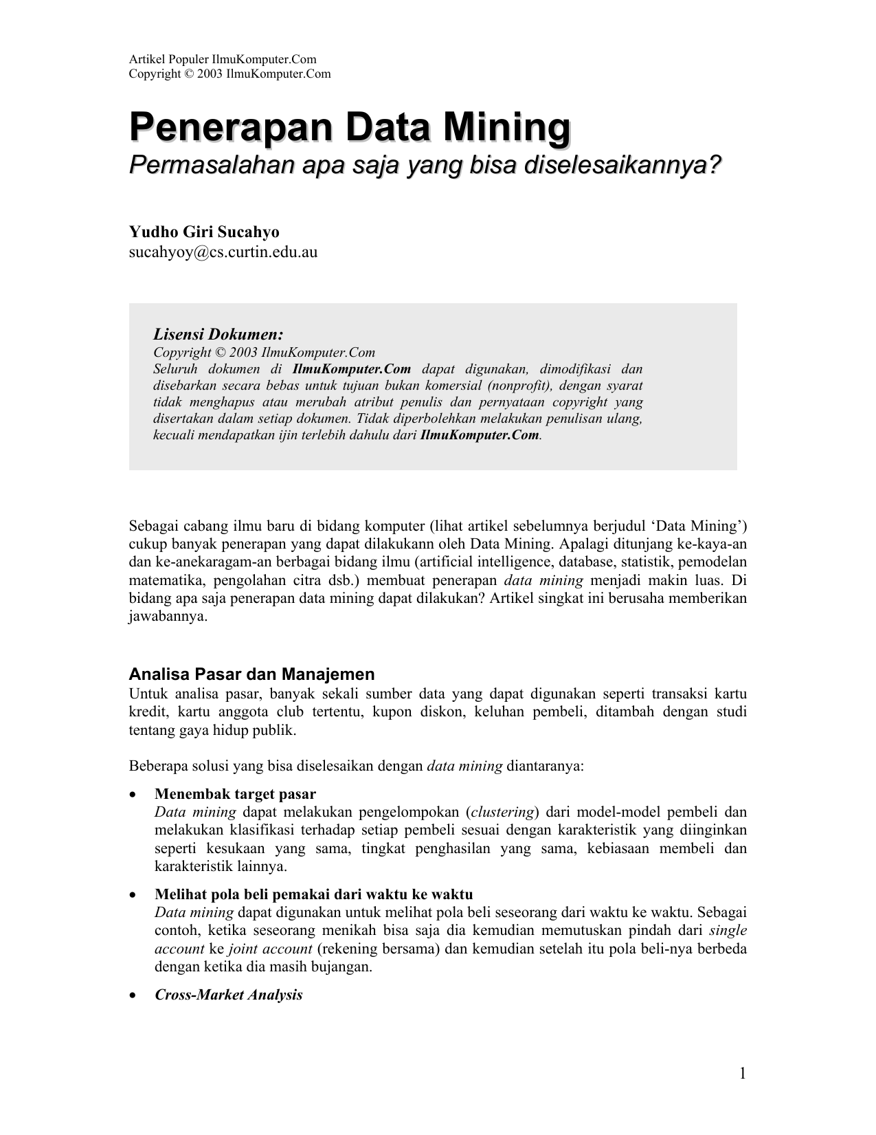 Data Mining Rehat With Yudi Agusta