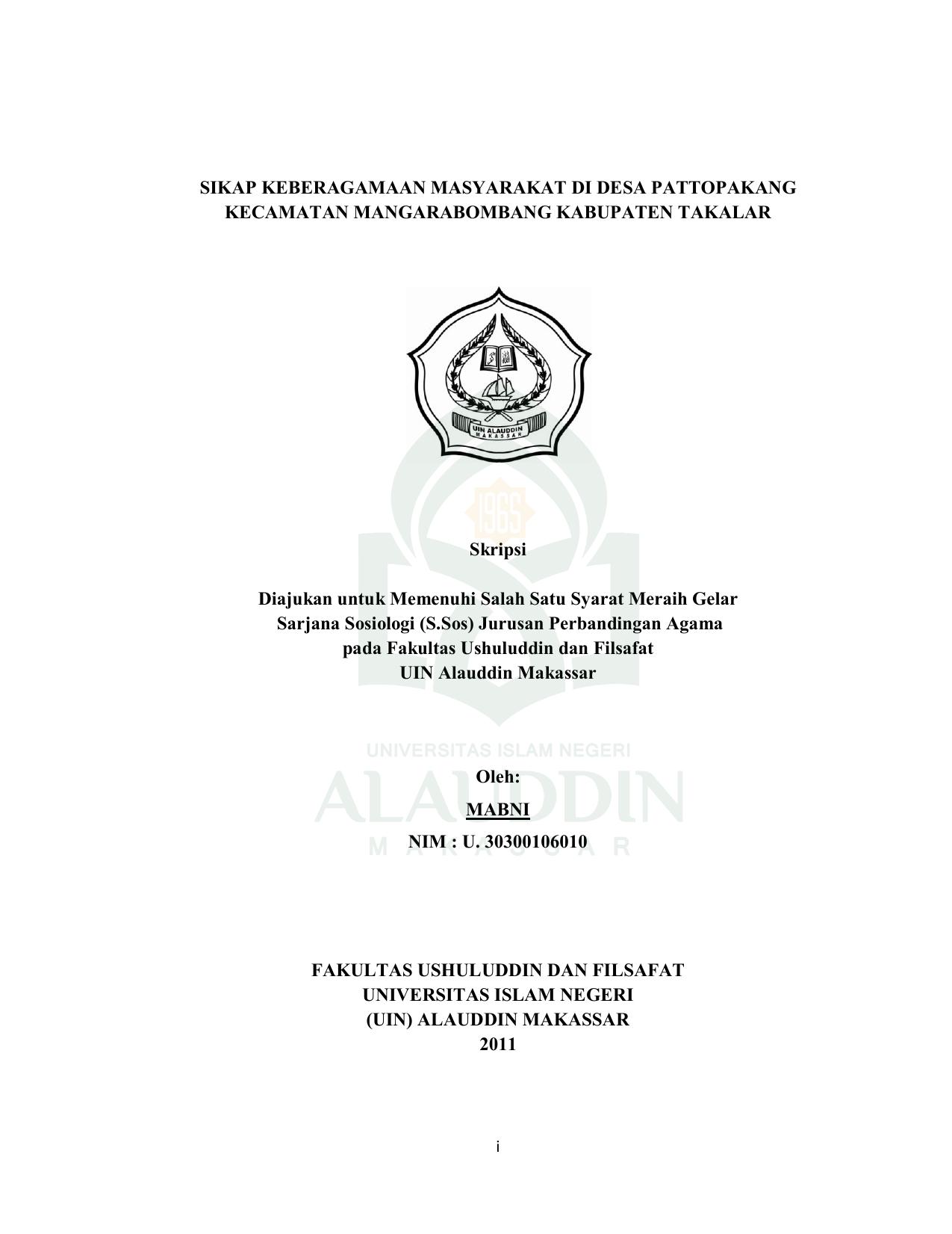Judul Skripsi Sosiologi Agama