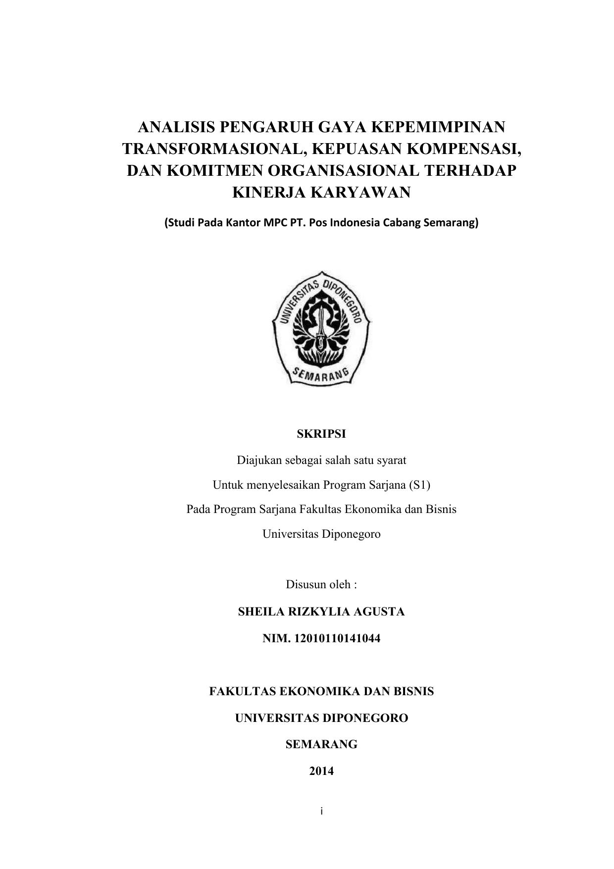 Skripsi Pengaruh Gaya Kepemimpinan Transformasional Terhadap Kinerja Karyawan Kumpulan Berbagai Skripsi
