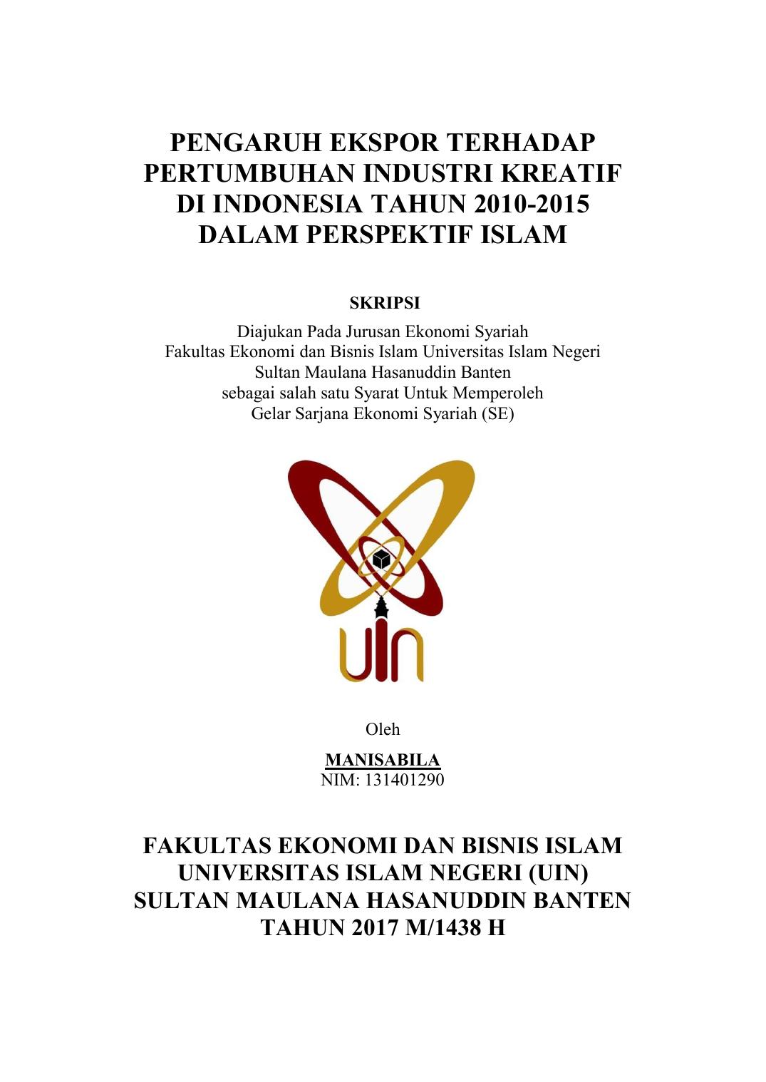 Pengaruh Ekspor Terhadap Pertumbuhan Industri Kreatif Di Indonesia