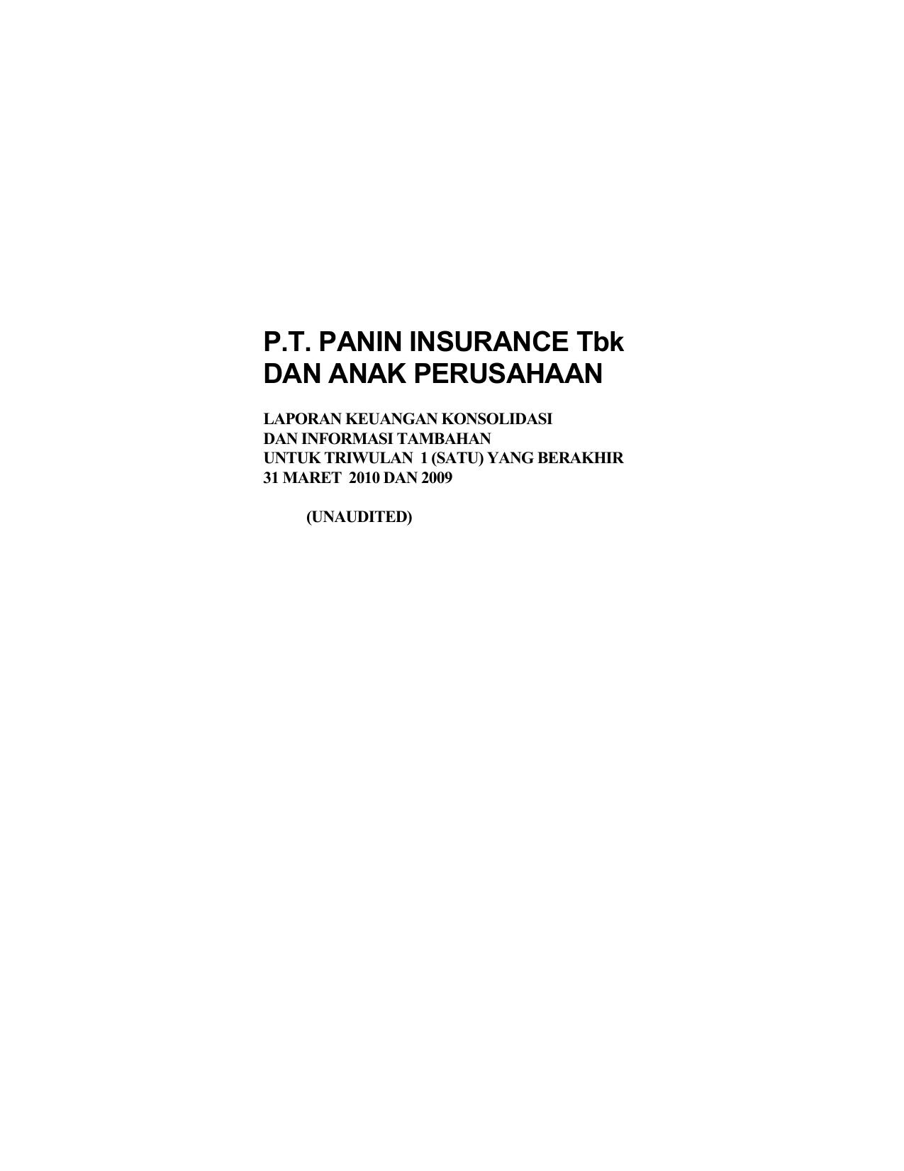 Pt Panin Insurance Tbk Dan Anak Perusahaan