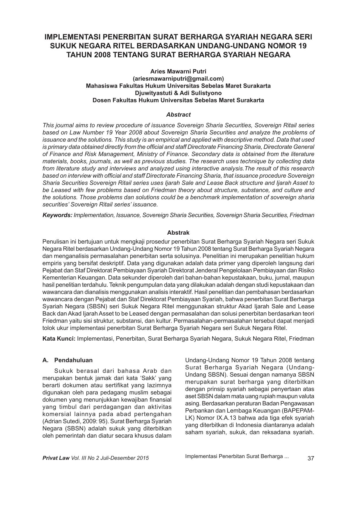 Implementasi Penerbitan Surat Berharga Syariah Negara Seri