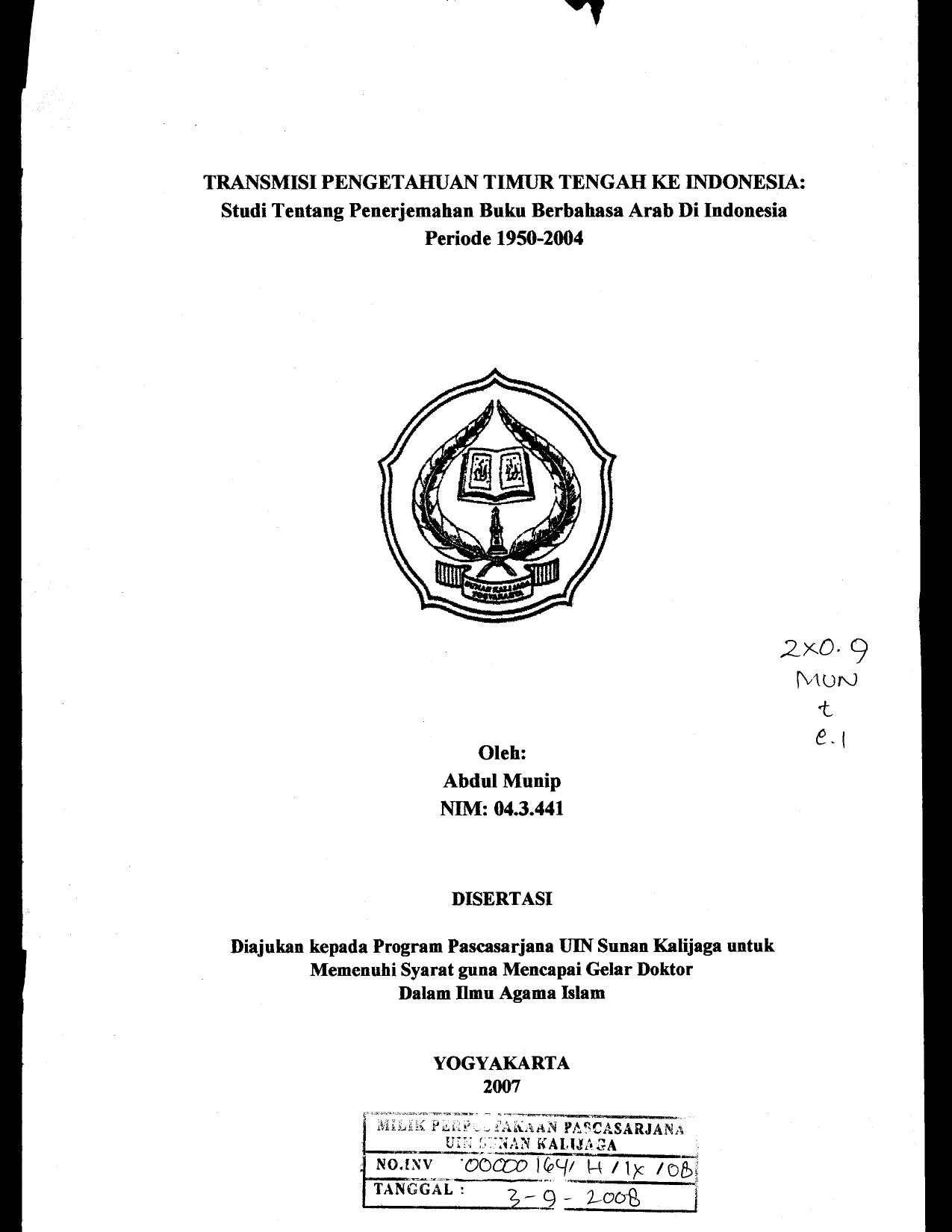 TRANSMISI PENGETAHUAN TIMUR TENGAH KE INDONESIA