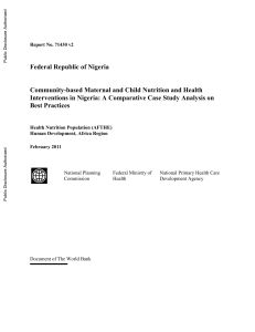 Community-based Maternal and Child Nutrition and Health