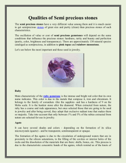 Qualities of Semi precious stones