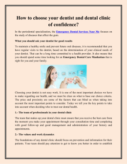 How to choose your dentist and dental clinic of confidence