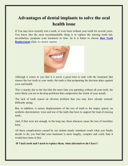 Advantages of dental implants to solve the oral health issue