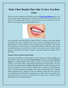 Find A Best Dentist That Able To Give You Best Care