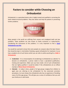 Factors to consider while Choosing an Orthodontist