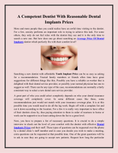 A Competent Dentist With Reasonable Dental Implants Prices