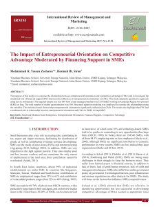 The Impact of Entrepreneurial Orientation on Competitive Advantage Moderated by Financing Support in SMEs[#355402]-367049