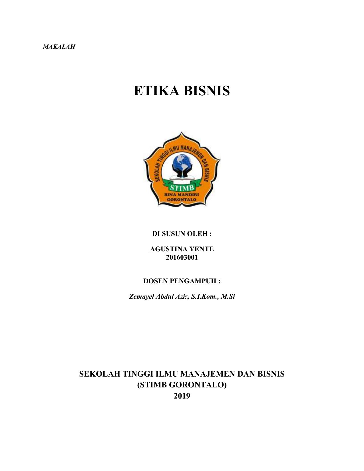 Makalah Etika Bisnis Materi 1