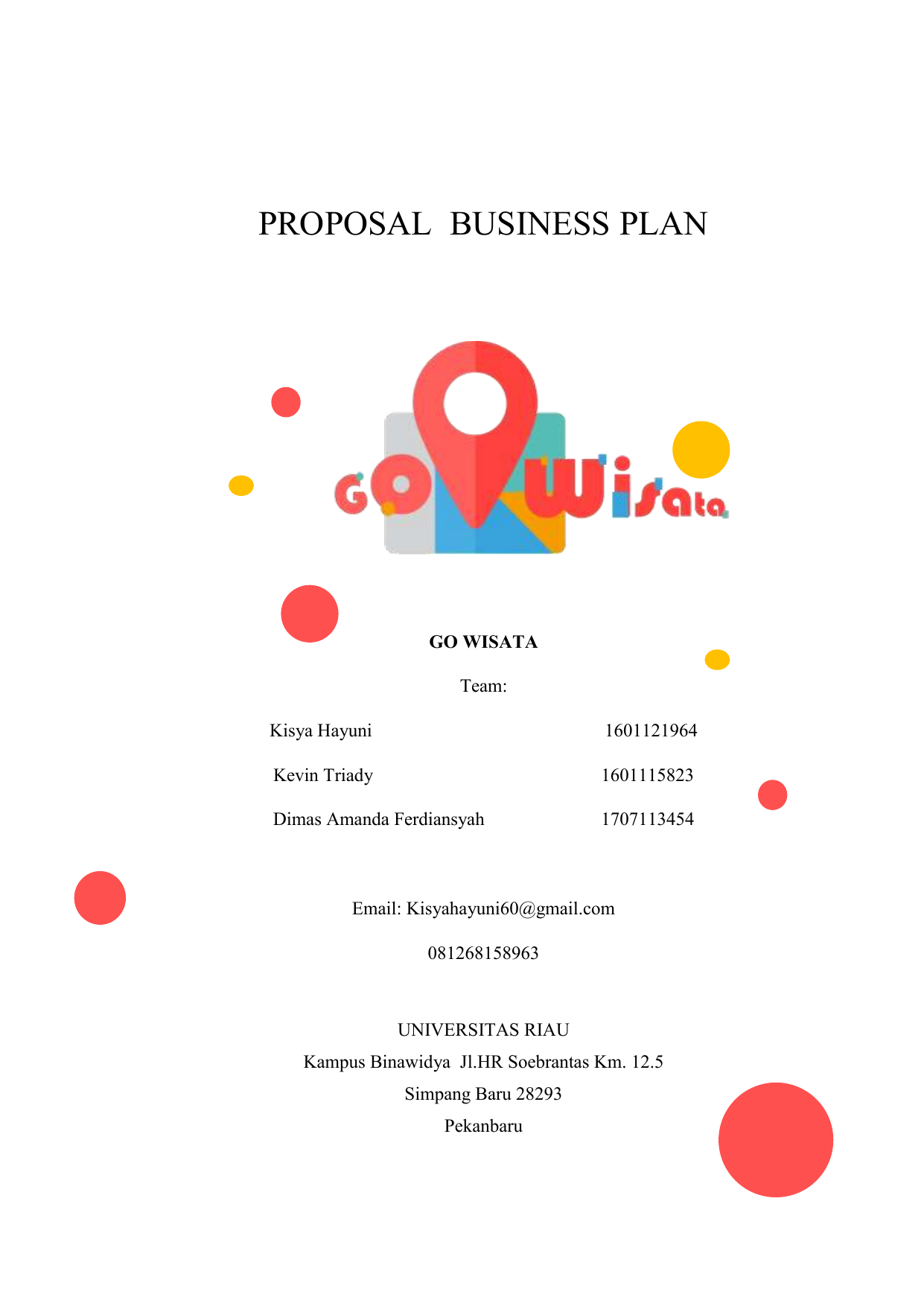 Proposal Business Plan Go Wisata Kkk