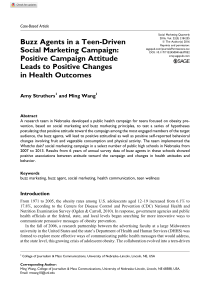 Buzz Agents in a Teen-Driven Social Marketing Campaign Positive Campaign Attitude Leads to Positive Changes in Health Outco