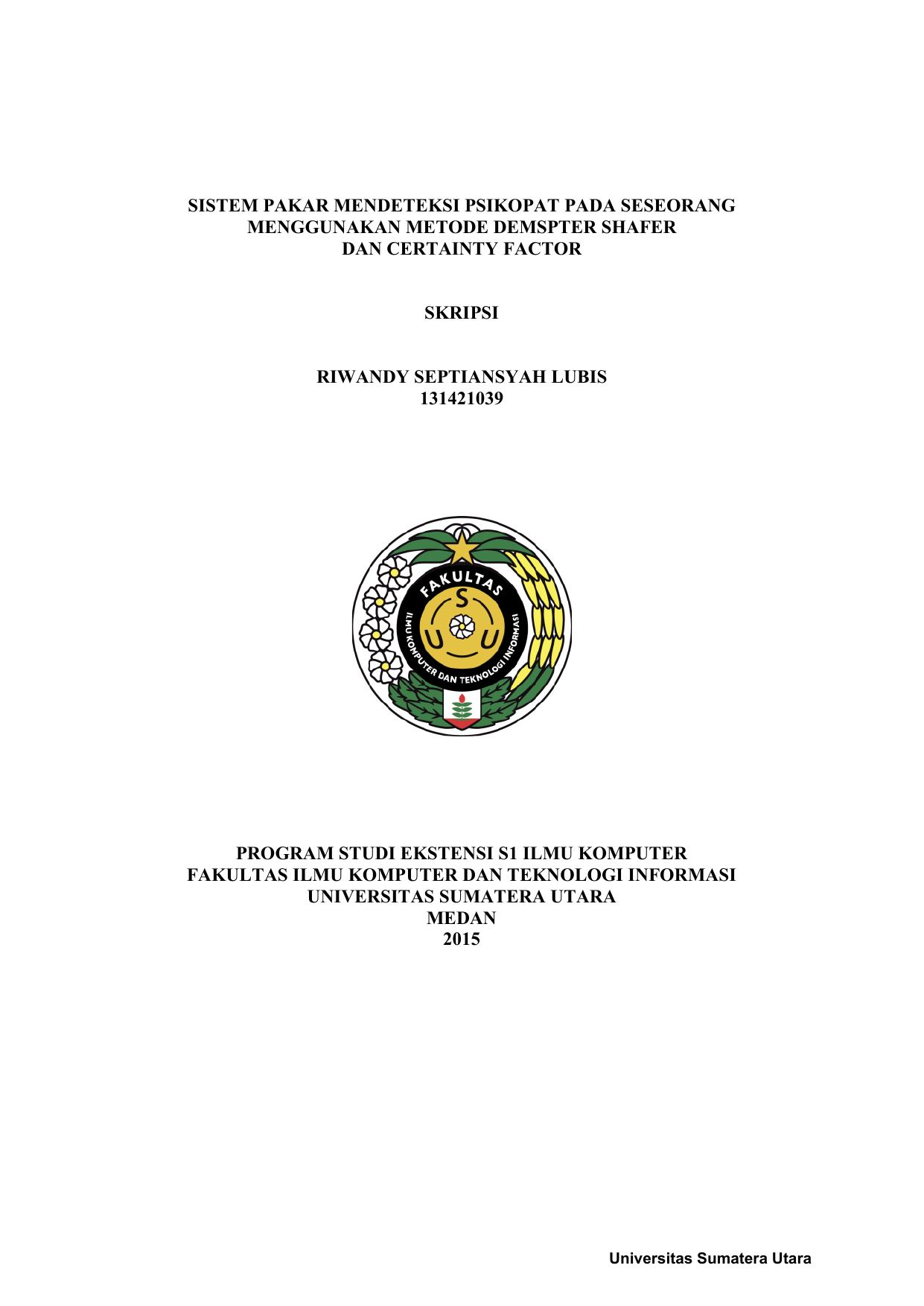 Contoh Cover Proposal Skripsi Usu Ide Judul Skripsi Universitas