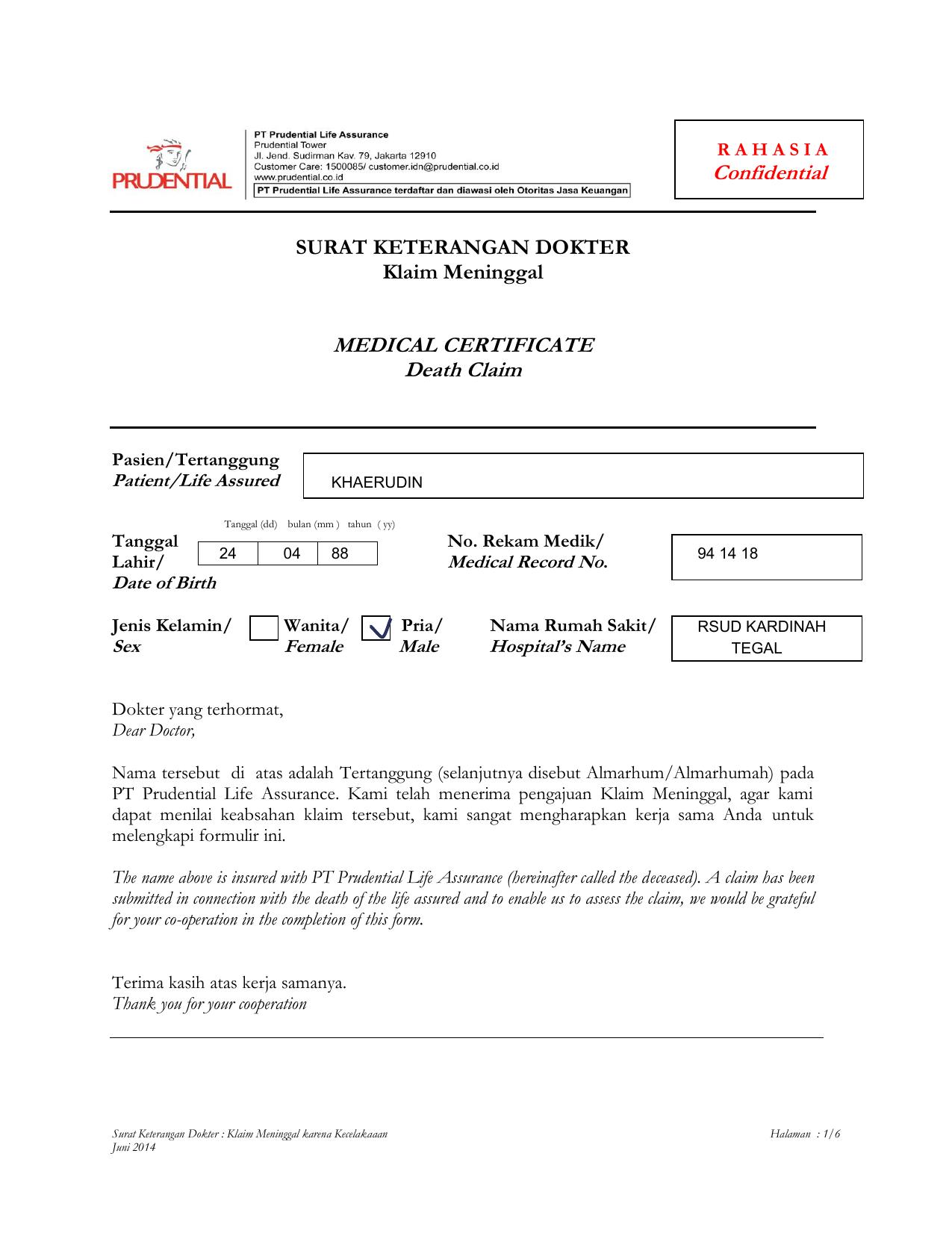 Contoh Surat Keterangan Kematian Dari Dokter - Kumpulan ...