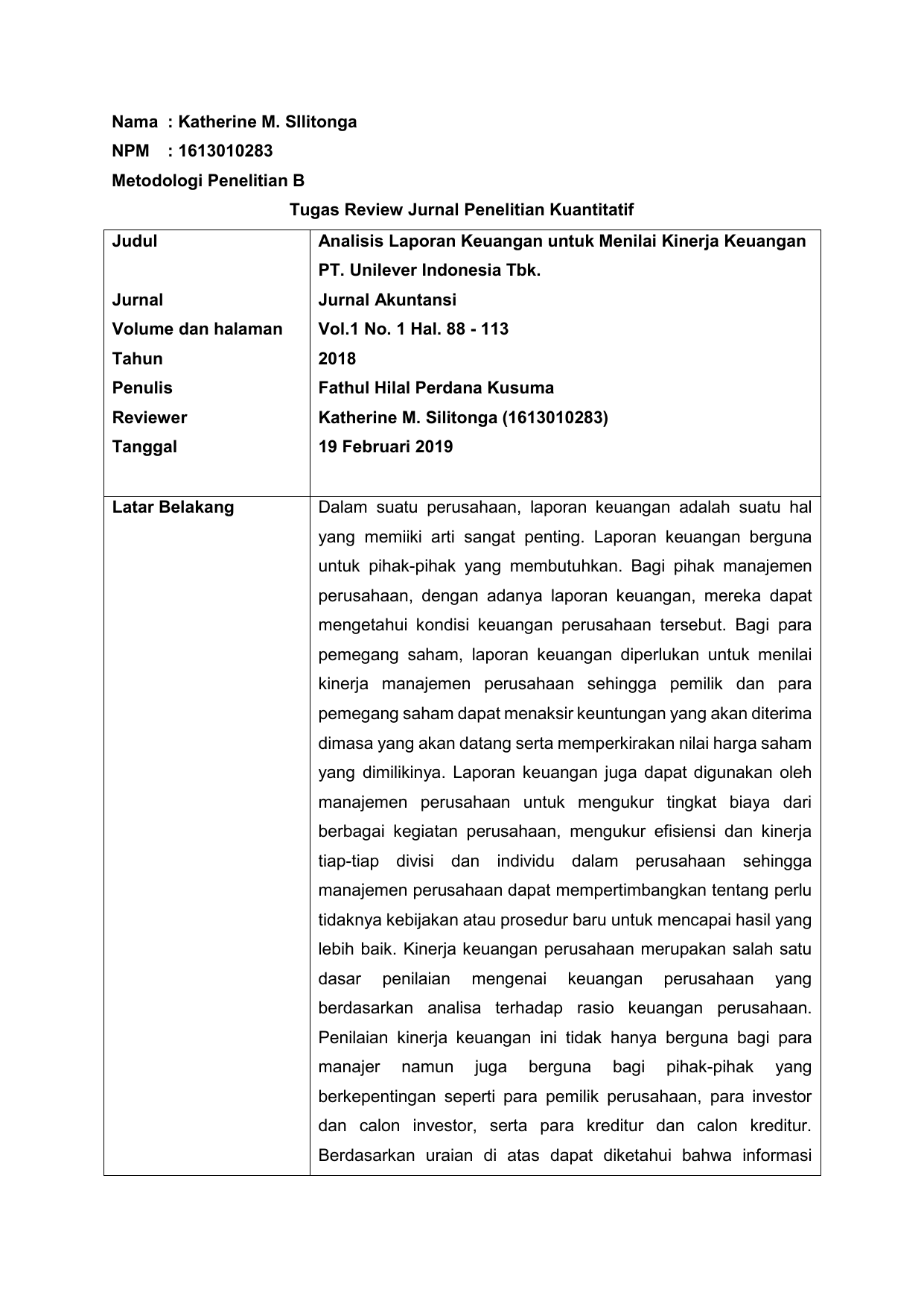 Review Jurnal Kuantitatif