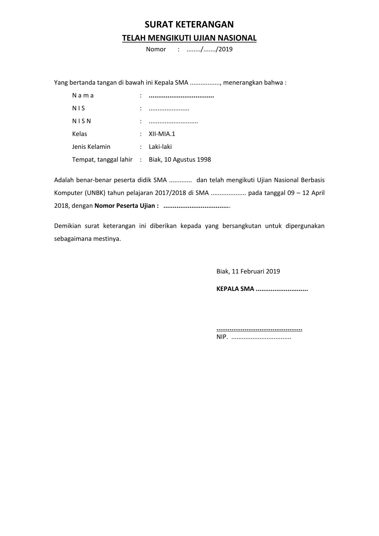 Contoh Surat Keterangan Peserta Ujian Nasional