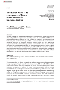 (2012) The Rasch Wars; The Emergence of Rasch Measurement In Language Testing