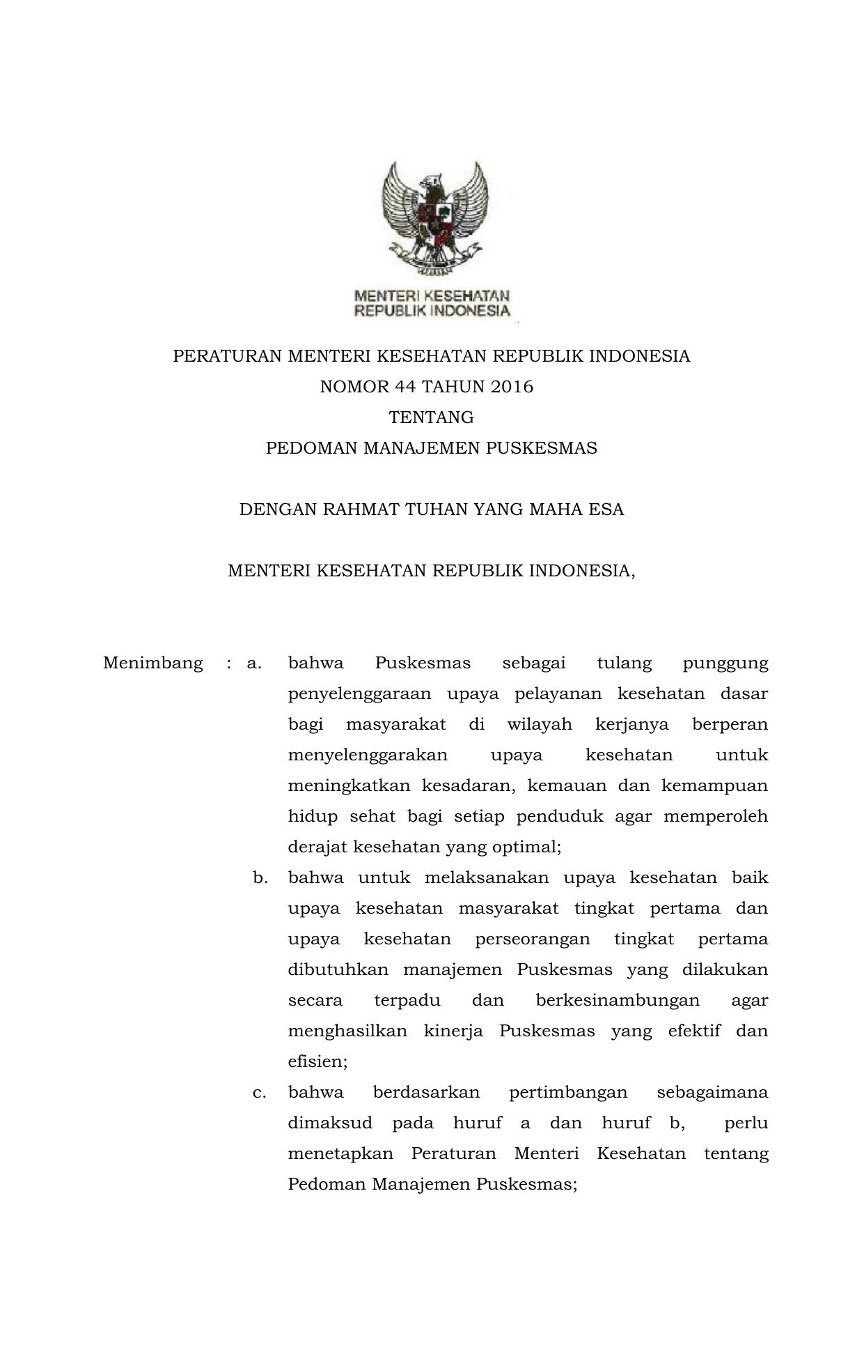 Permenkes No 44 Tahun 2016 Tentang Pedoman Manajemen Puskesmas