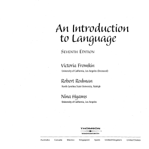 INTRODUCTION TO LANGUAGE 7TH EDDITION. victoria fromklin
