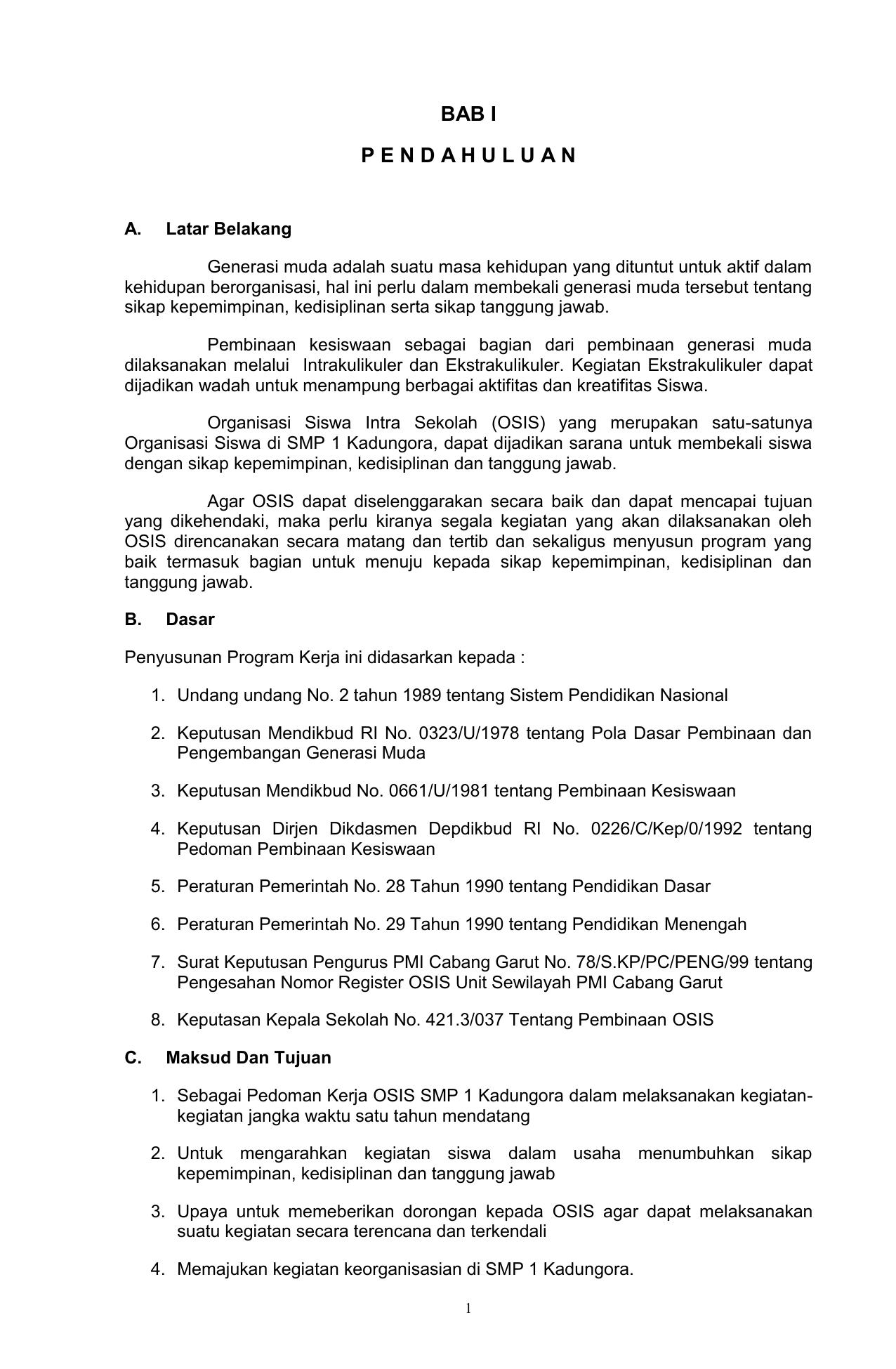 Contoh Program Osis Smp