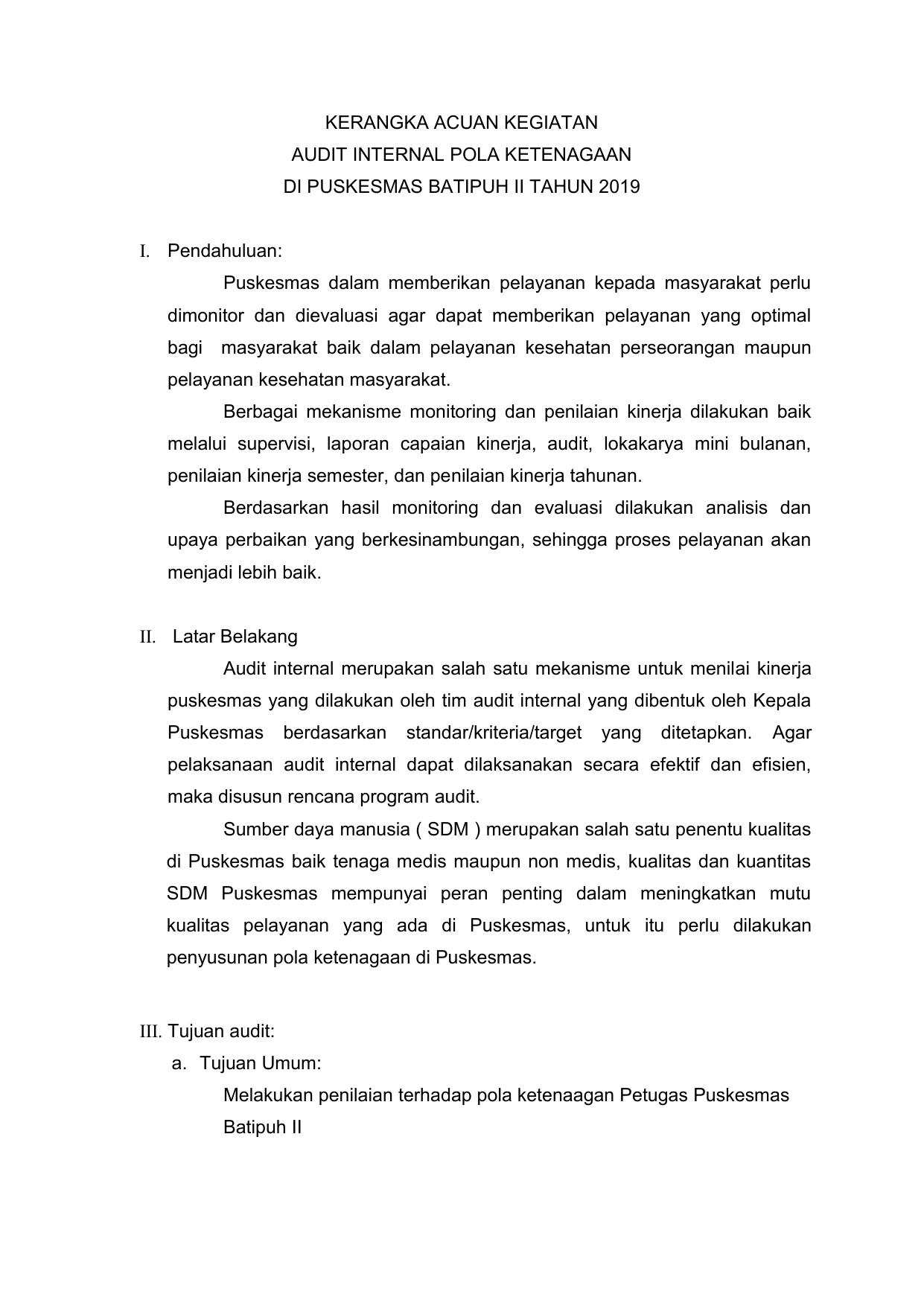 Contoh Laporan Hasil Audit Internal Puskesmas Kumpulan Contoh Laporan