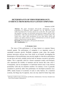 Determinants of Firm Performance Evidence from Rom