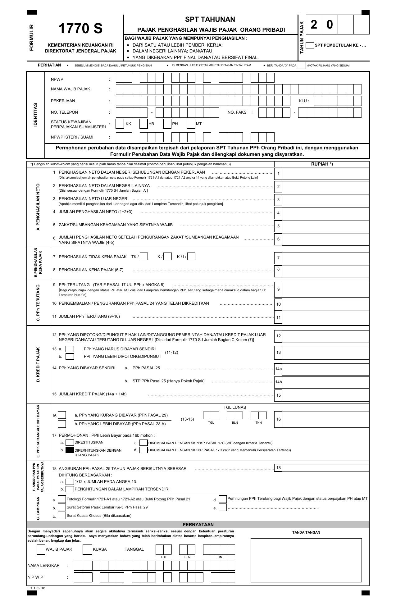 Formulir Spt 1770 S 2014