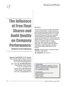 Sailendra et al (2018) The Influence of Free Float Shares and Audit Quality on Company Performance