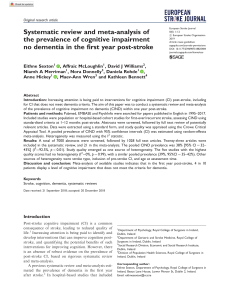 Systematic review and meta-analysis of the prevalence of CIND in the first year post-stroke