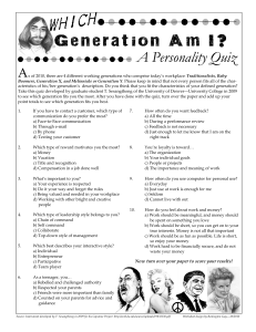 Generational Personality Quiz Handout