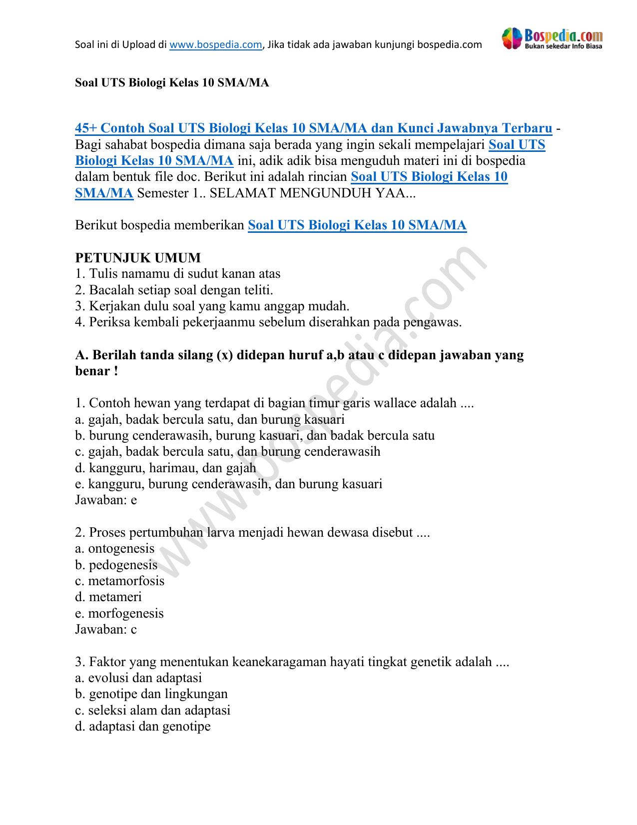 45 Contoh Soal Uts Biologi Kelas 10 Sma Ma Dan Kunci Jawabnya Ss
