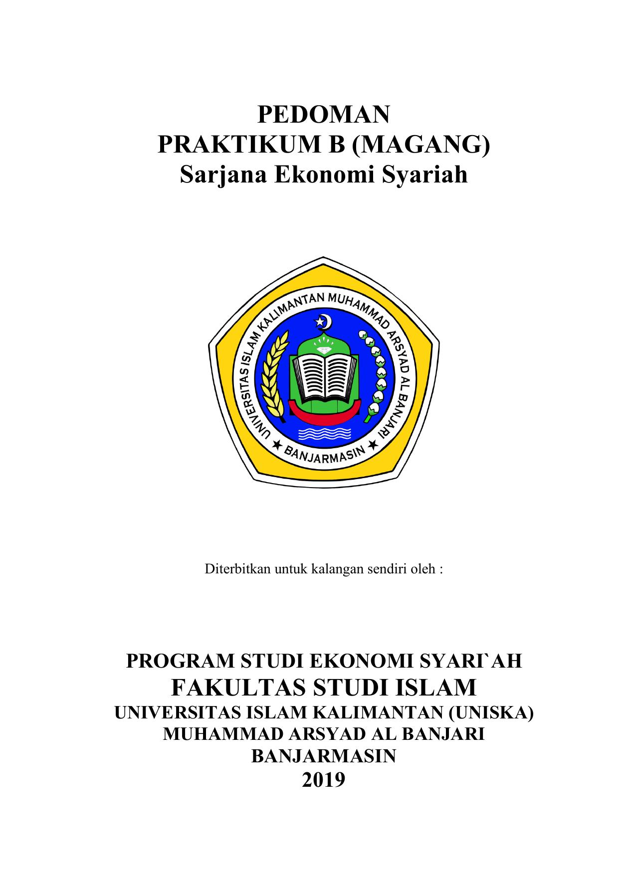 Pedoman Magang Ekonomi Syariah 2019