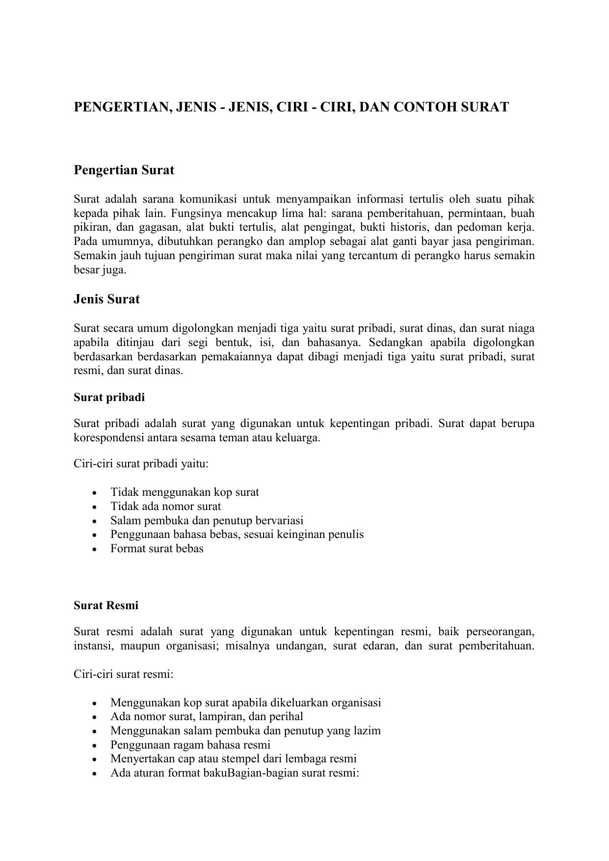 Contoh Surat Dinas Dan Surat Pribadi - Berbagai Contoh