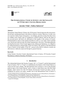 [18048285 - DANUBE  Law, Economics and Social Issues Review] The International Court of Justice and the Legality of UN Security Council Resolutions